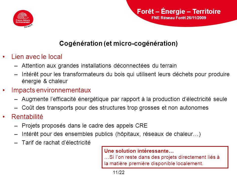 Cogénération (et micro-cogénération)