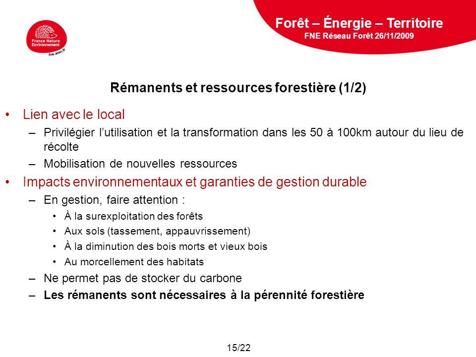 Rémanents et ressources forestière (1/2)