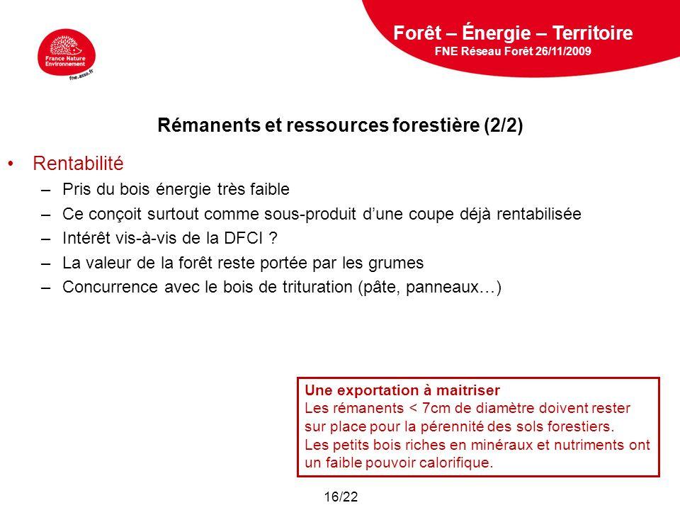 Rémanents et ressources forestière (2/2)