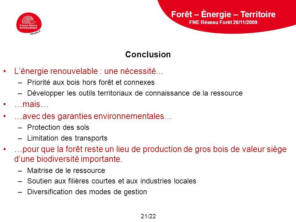 Forêt – Énergie – Territoire FNE Réseau Forêt 26/11/2009