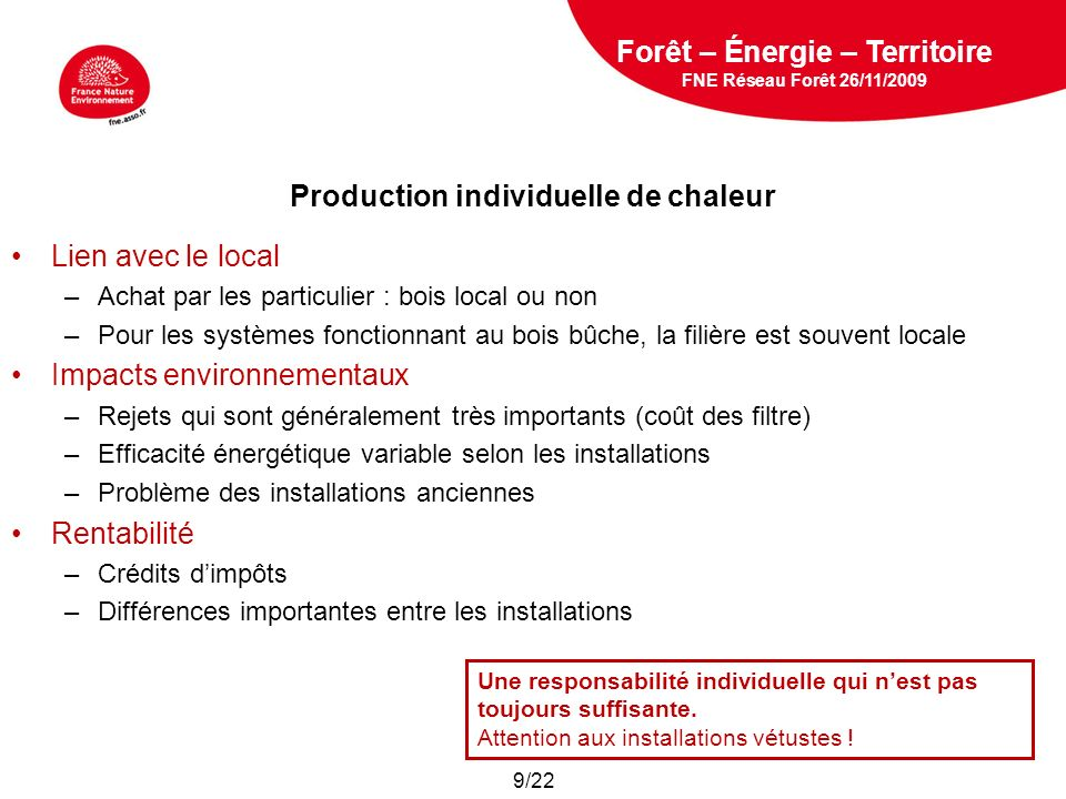 Production individuelle de chaleur