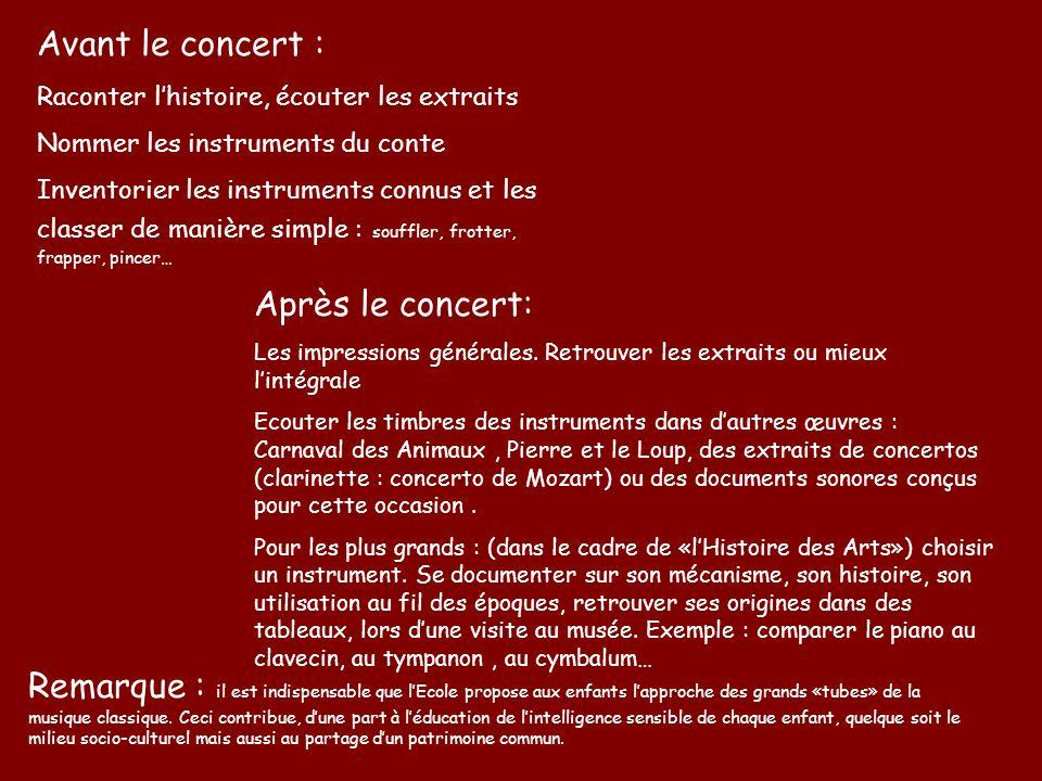 Avant le concert : Après le concert: