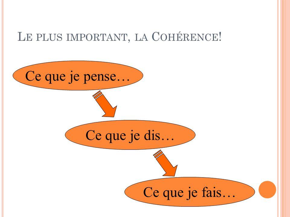 Le plus important, la Cohérence!