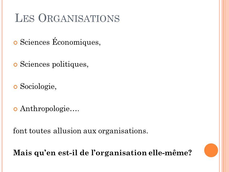 Les Organisations Sciences Économiques, Sciences politiques,