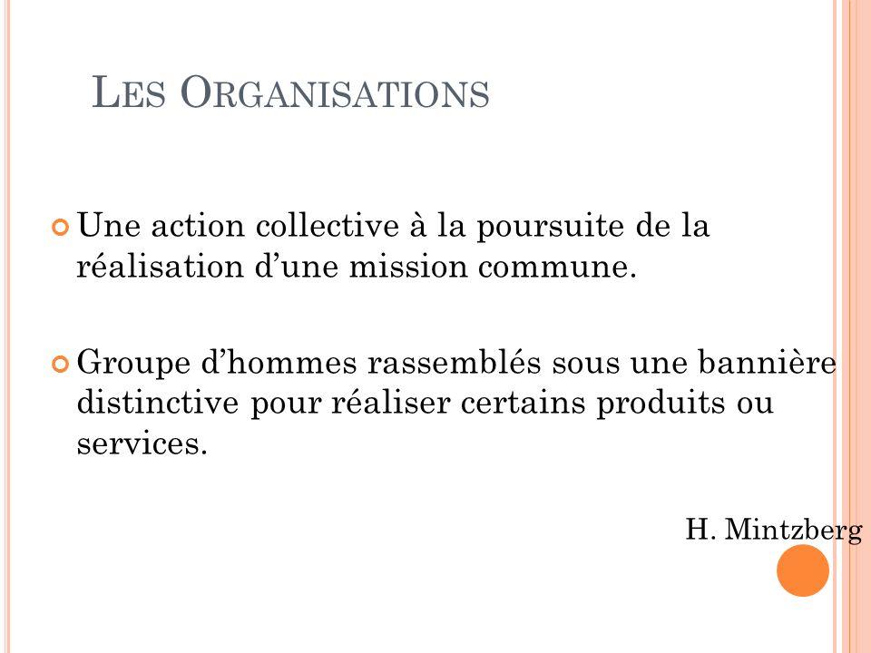 Les Organisations Une action collective à la poursuite de la réalisation d'une mission commune.