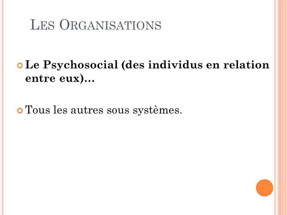 Les Organisations Le Psychosocial (des individus en relation entre eux)… Tous les autres sous systèmes.