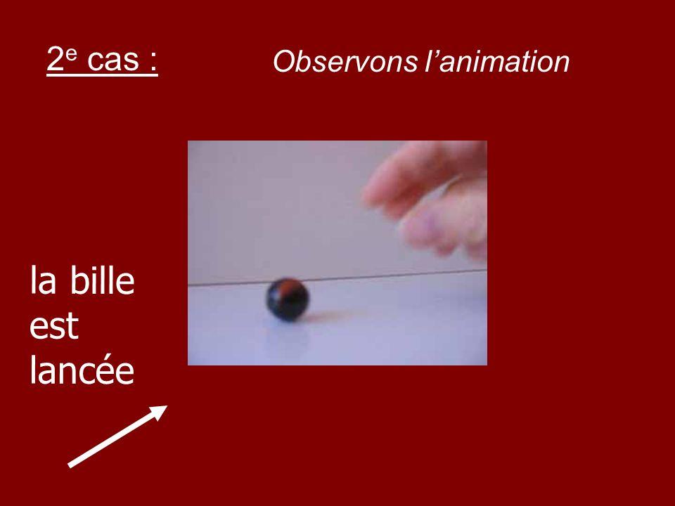 2e cas : Observons l'animation la bille est lancée