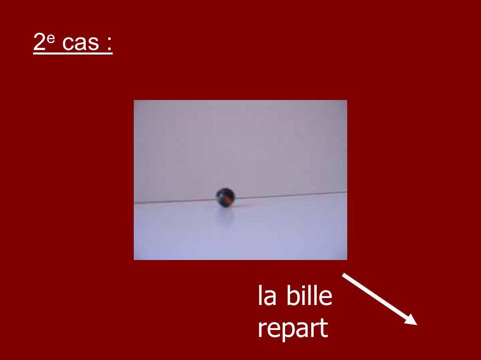 2e cas : la bille repart