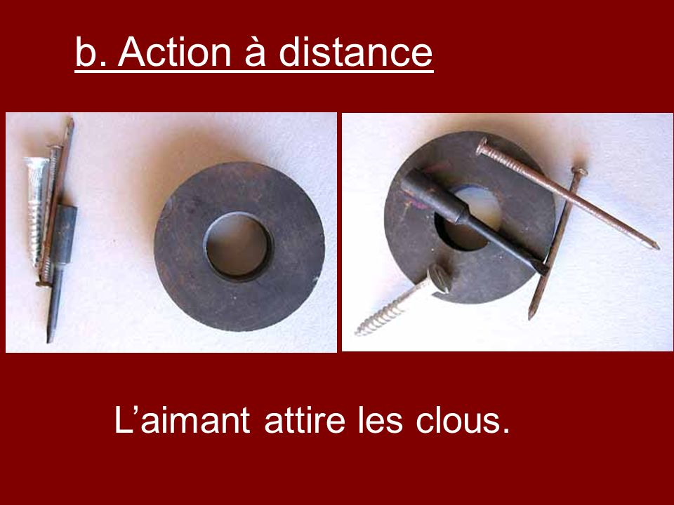 b. Action à distance L'aimant attire les clous.