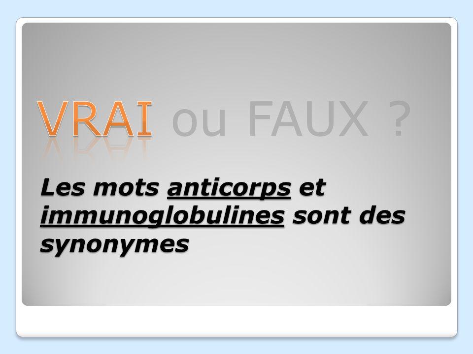 Les mots anticorps et immunoglobulines sont des synonymes