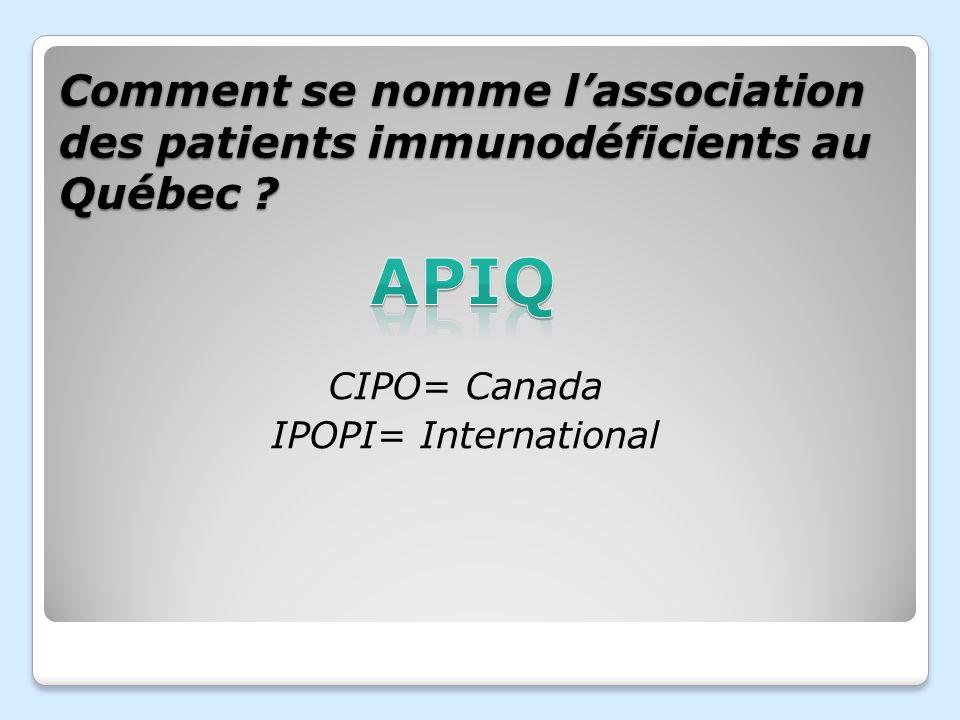 Comment se nomme l'association des patients immunodéficients au Québec