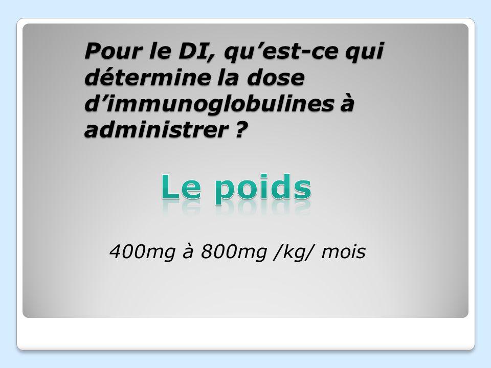 Pour le DI, qu'est-ce qui détermine la dose d'immunoglobulines à administrer