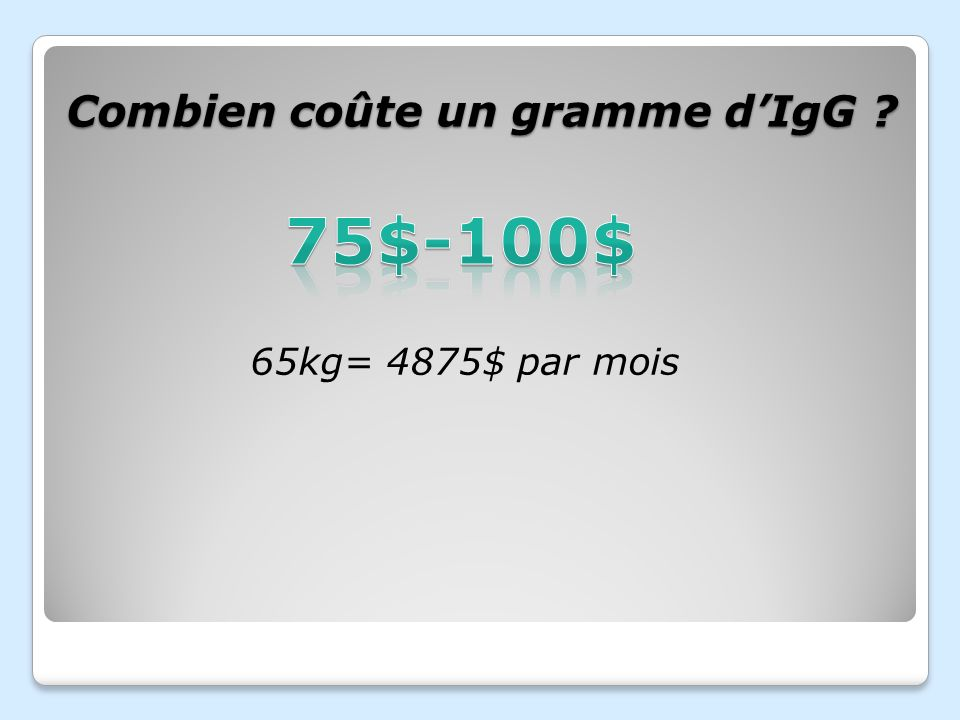 Combien coûte un gramme d'IgG