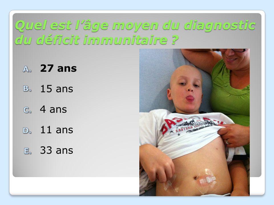 Quel est l'âge moyen du diagnostic du déficit immunitaire