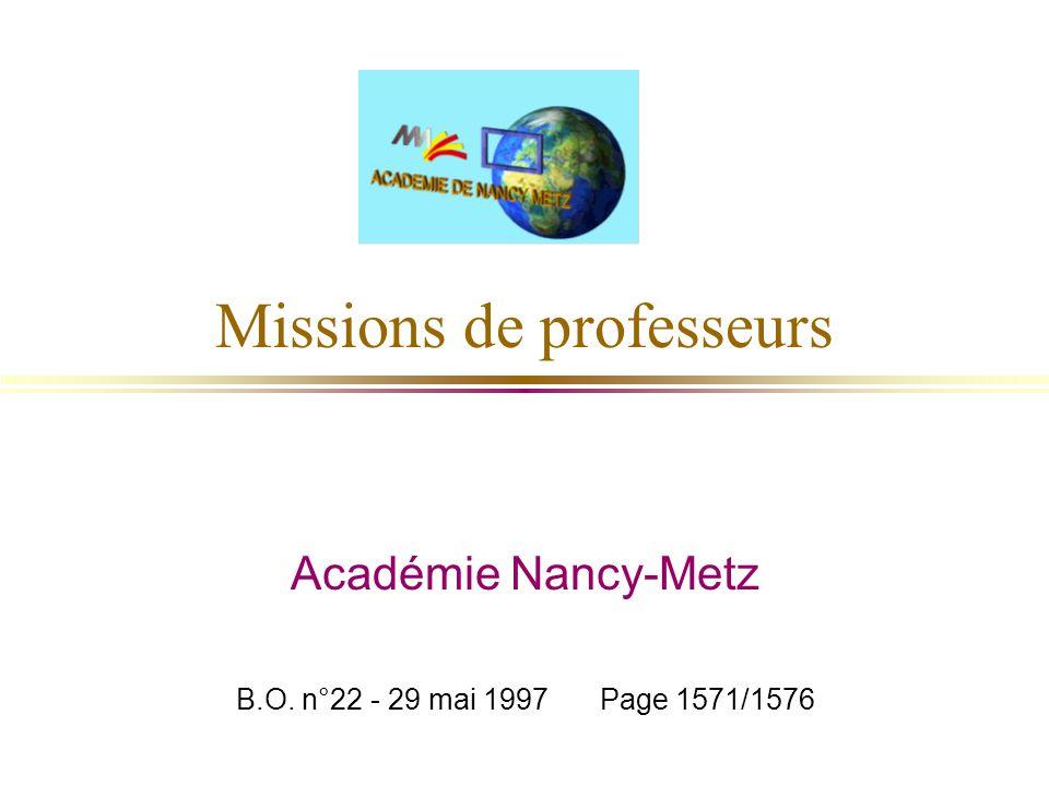 Missions de professeurs
