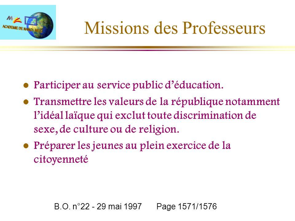 Missions des Professeurs