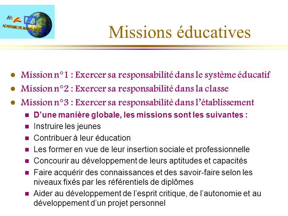 Missions éducatives Mission n°1 : Exercer sa responsabilité dans le système éducatif. Mission n°2 : Exercer sa responsabilité dans la classe.