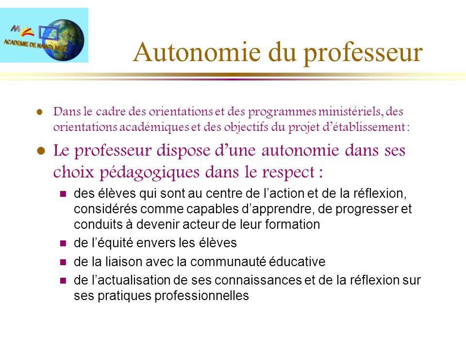 Autonomie du professeur