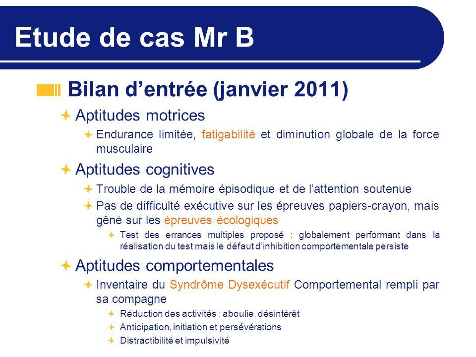 Etude de cas Mr B Bilan d'entrée (janvier 2011) Aptitudes motrices