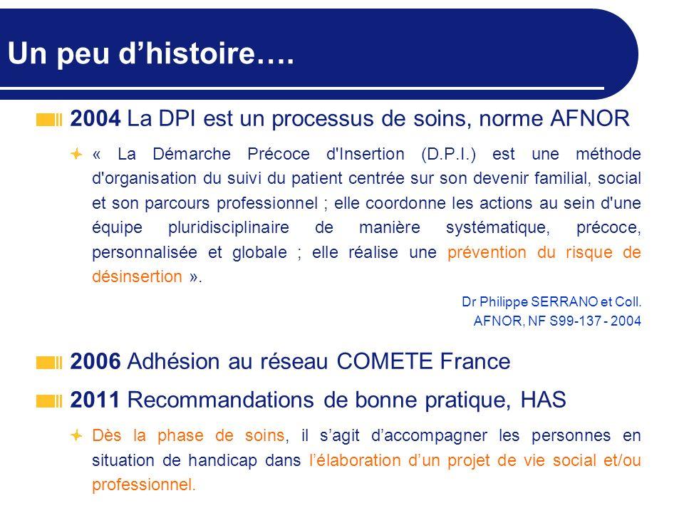 Un peu d'histoire…. 2004 La DPI est un processus de soins, norme AFNOR
