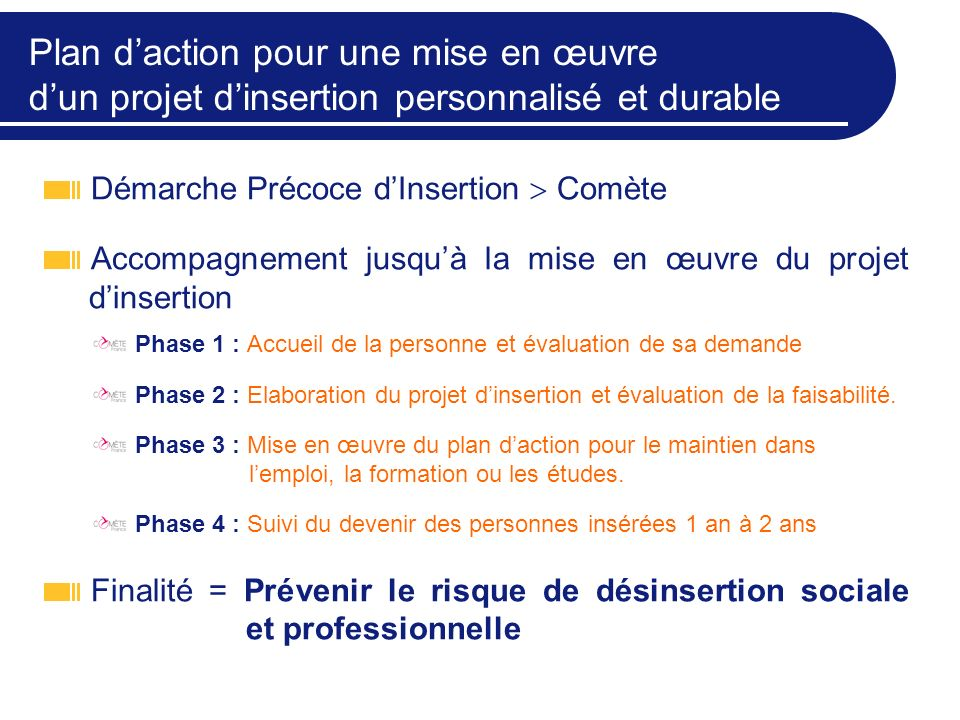 Plan d'action pour une mise en œuvre d'un projet d'insertion personnalisé et durable
