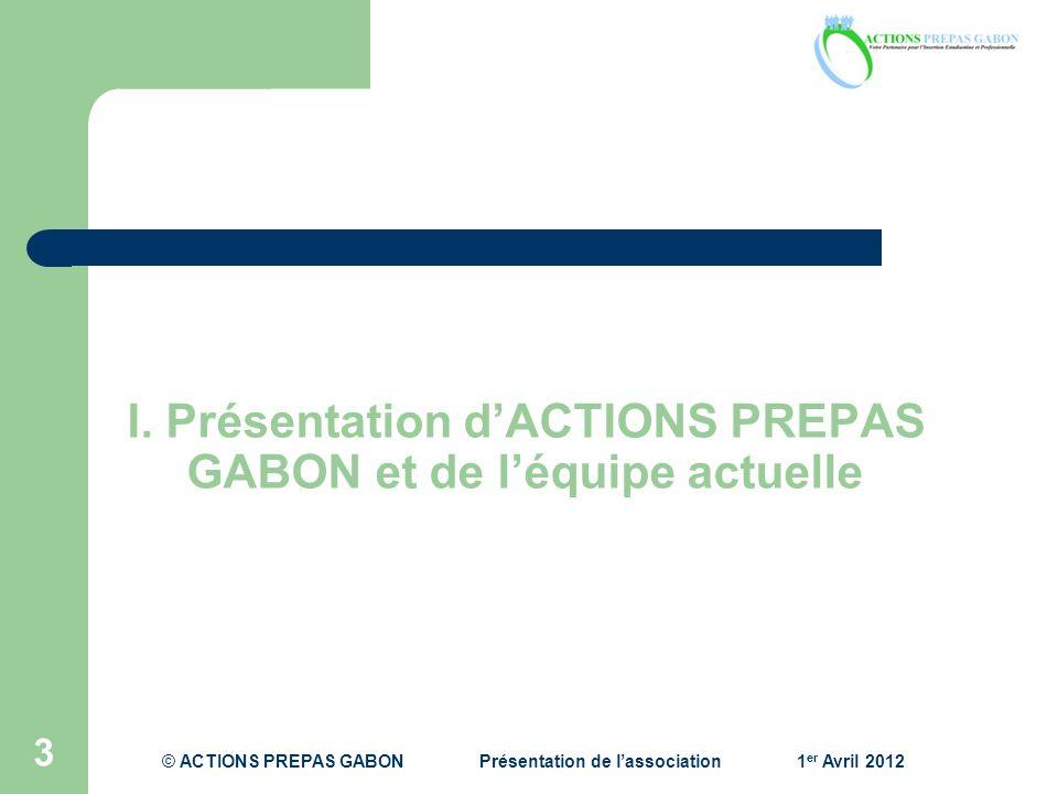 I. Présentation d'ACTIONS PREPAS GABON et de l'équipe actuelle