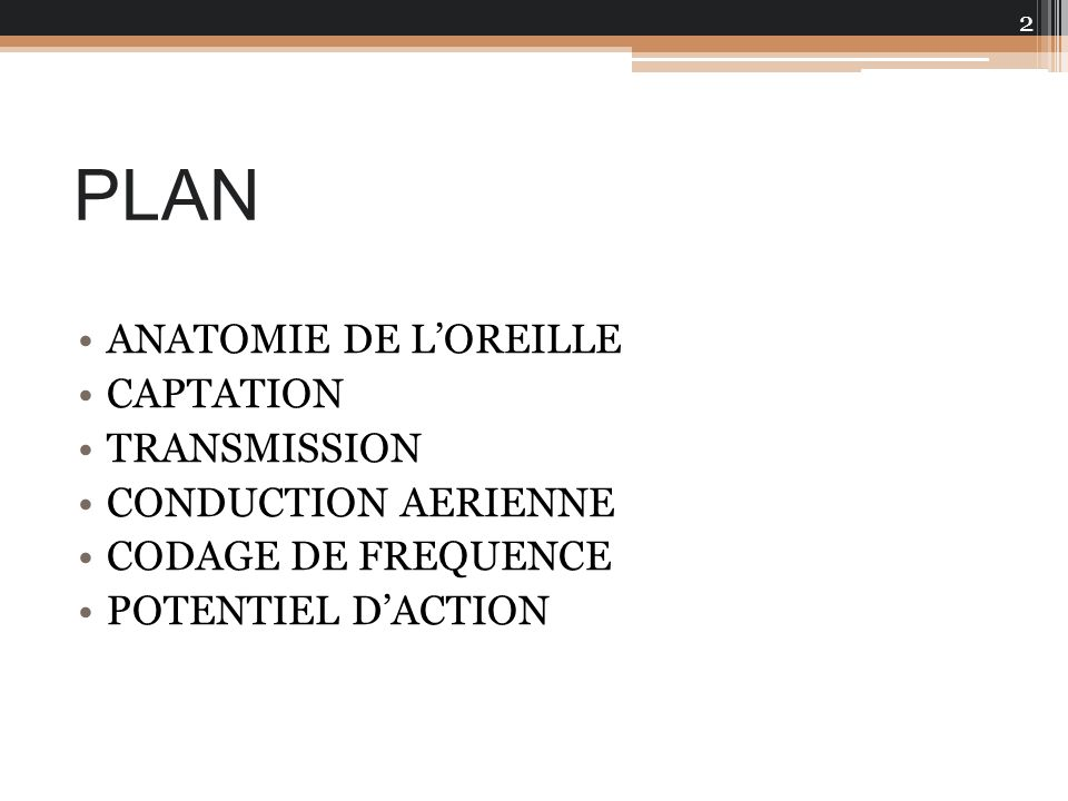 PLAN ANATOMIE DE L'OREILLE CAPTATION TRANSMISSION CONDUCTION AERIENNE