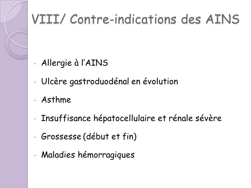 VIII/ Contre-indications des AINS