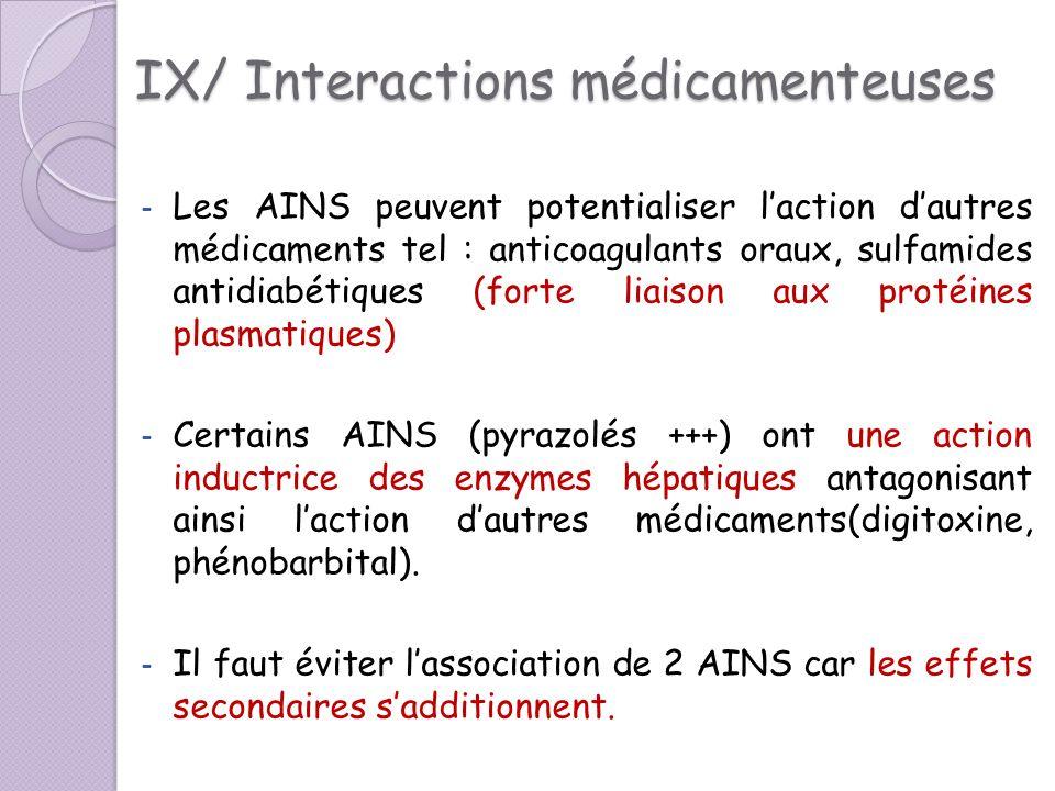 IX/ Interactions médicamenteuses