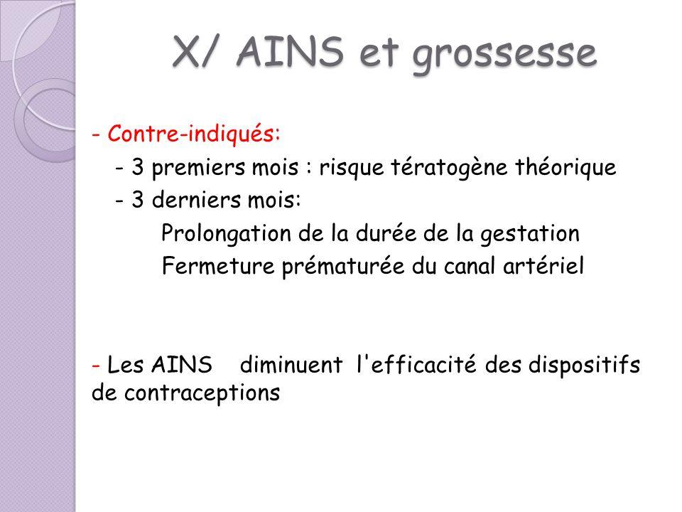 X/ AINS et grossesse - Contre-indiqués:
