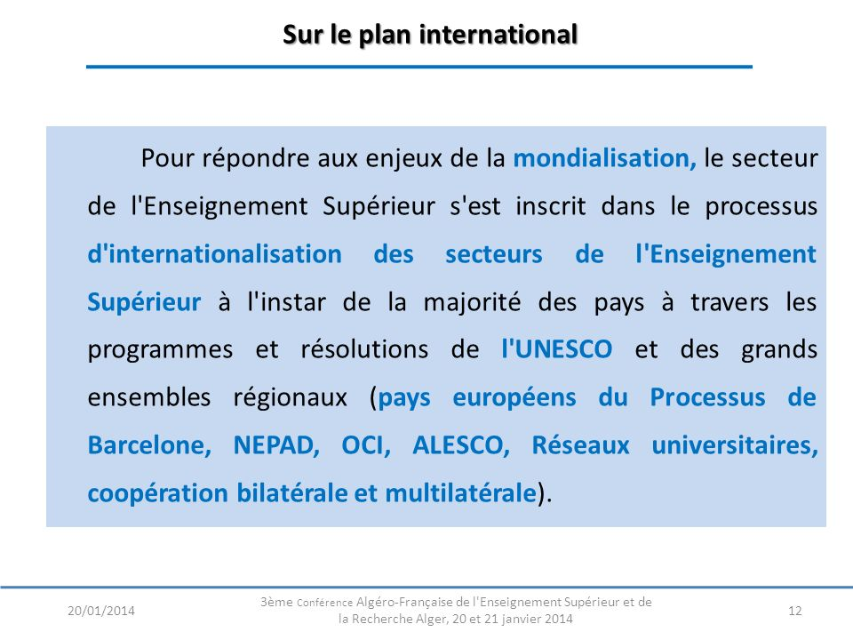 Sur le plan international