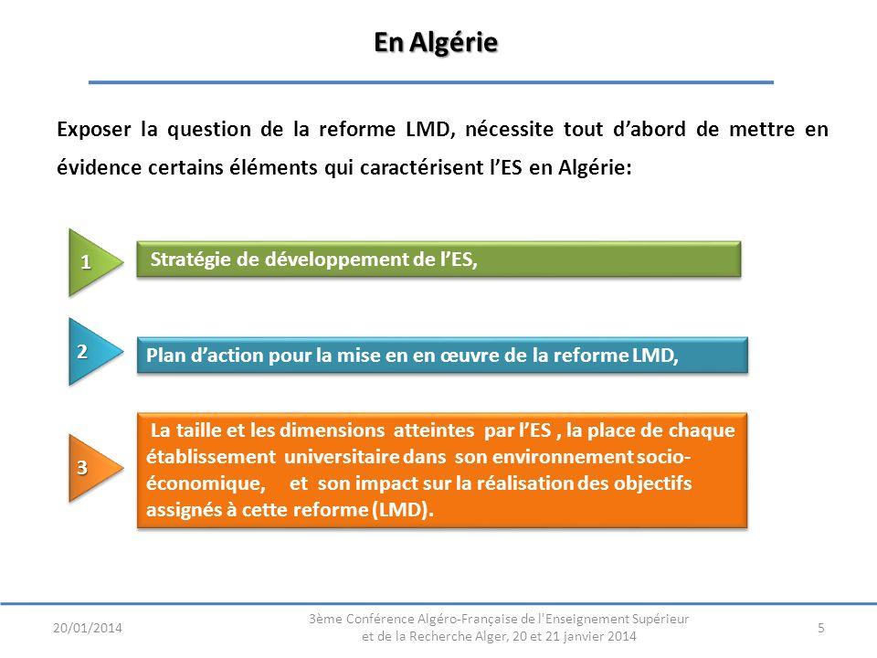 En Algérie Exposer la question de la reforme LMD, nécessite tout d'abord de mettre en évidence certains éléments qui caractérisent l'ES en Algérie: