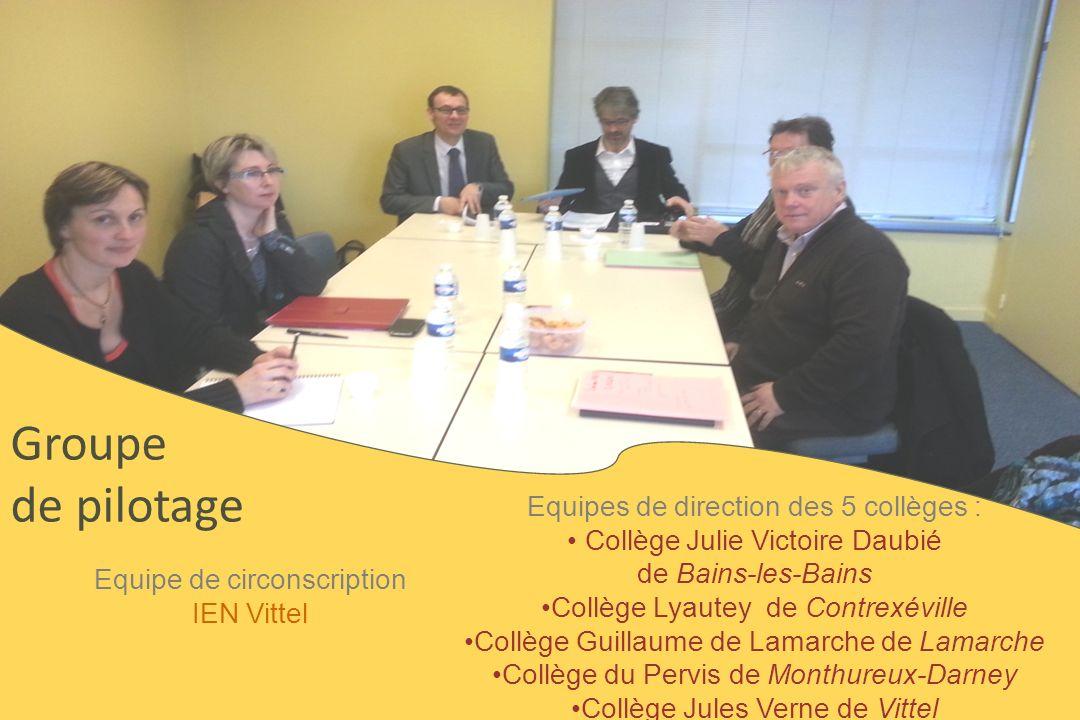 Groupe de pilotage Equipes de direction des 5 collèges :