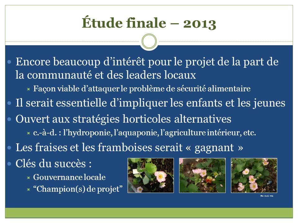 Étude finale – 2013 Encore beaucoup d'intérêt pour le projet de la part de la communauté et des leaders locaux.
