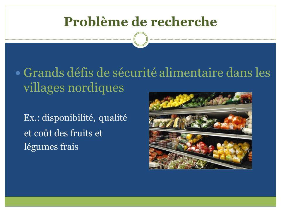 Problème de recherche Grands défis de sécurité alimentaire dans les villages nordiques. Ex.: disponibilité, qualité.