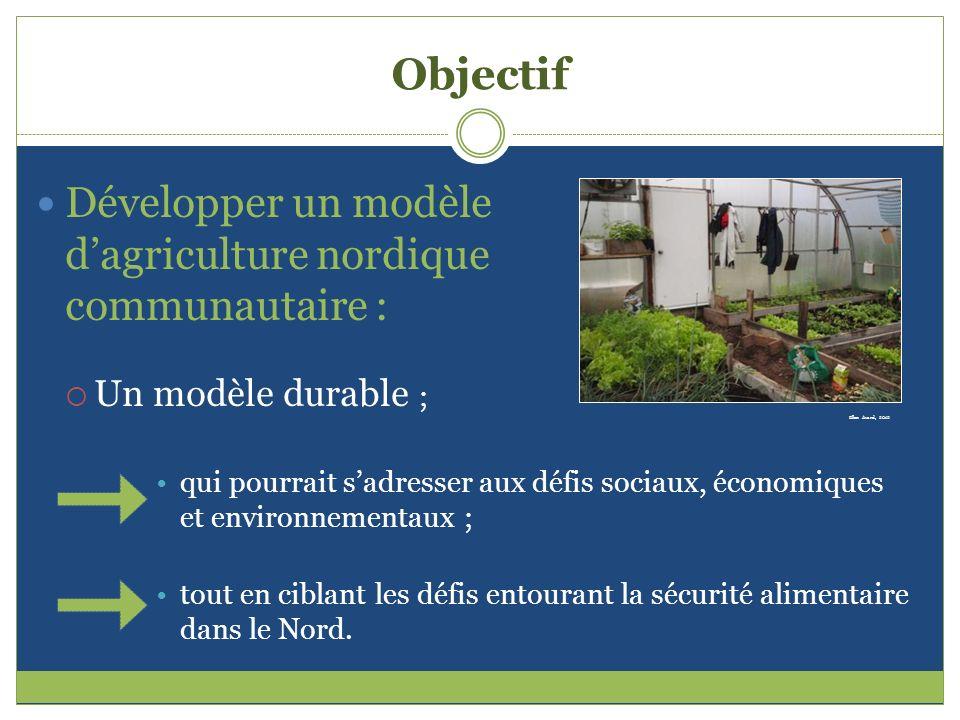Objectif Développer un modèle d'agriculture nordique communautaire :