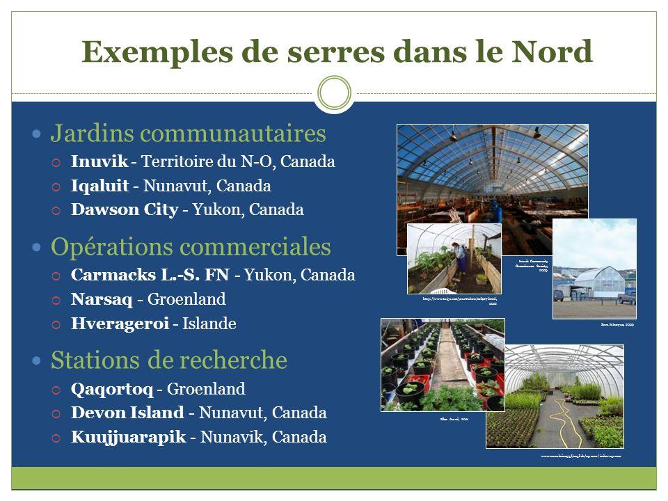 Exemples de serres dans le Nord