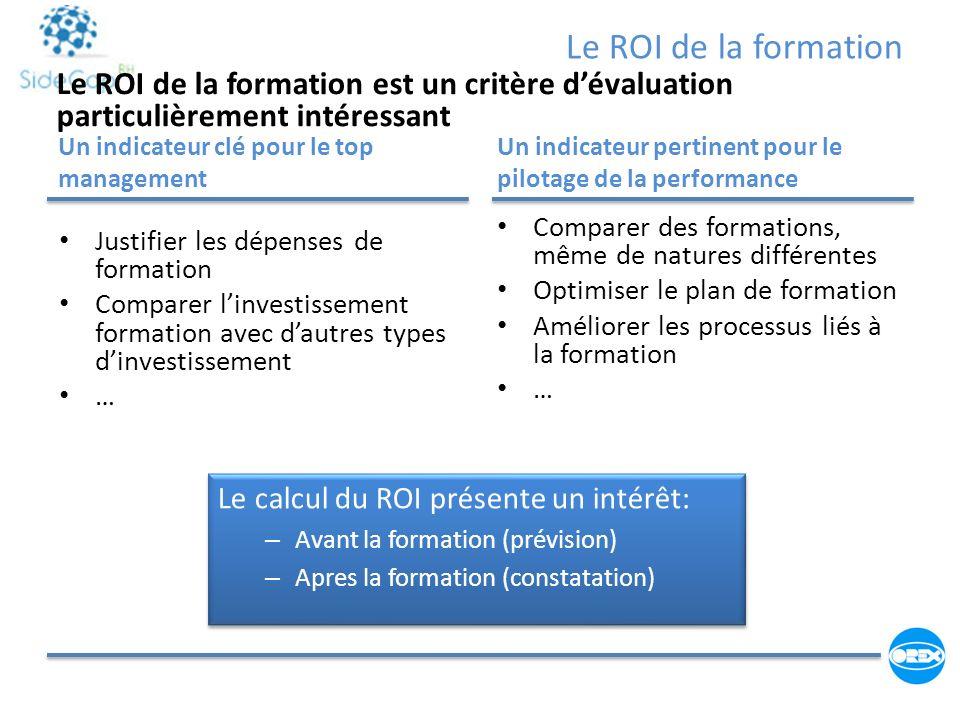 Le ROI de la formation Le ROI de la formation est un critère d'évaluation particulièrement intéressant.