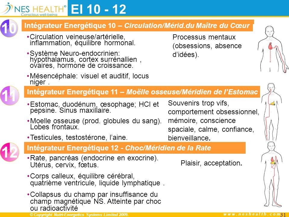 EI 10 - 12 Intégrateur Energétique 10 – Circulation/Mérid.du Maître du Cœur. Processus mentaux (obsessions, absence d'idées).
