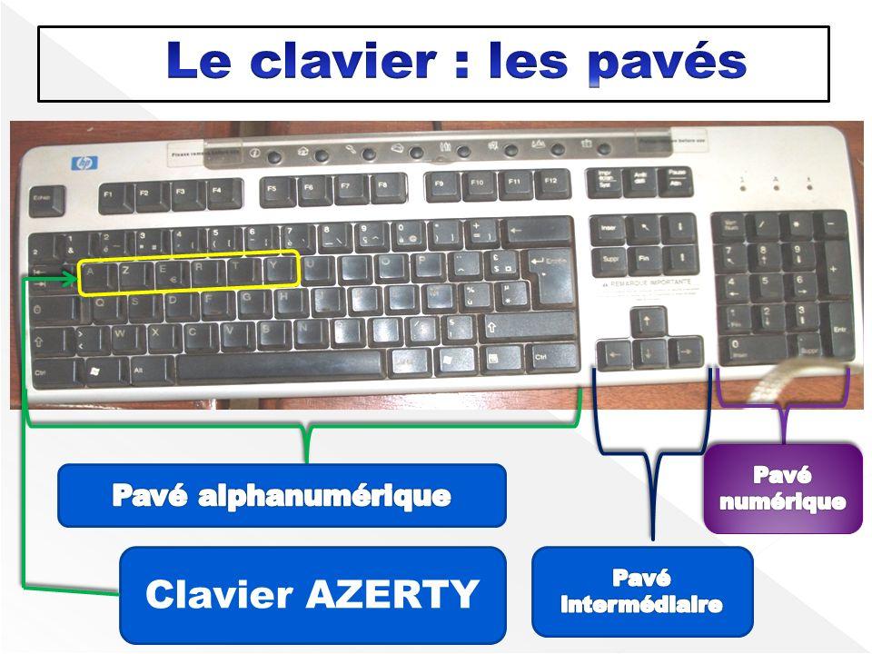 Le clavier : les pavés Clavier AZERTY Pavé alphanumérique