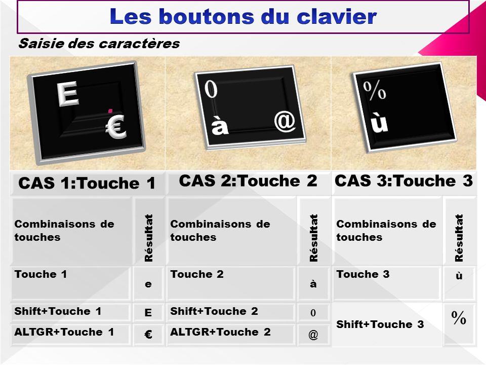 E €   à @ ù Les boutons du clavier  CAS 1:Touche 1 CAS 2:Touche 2