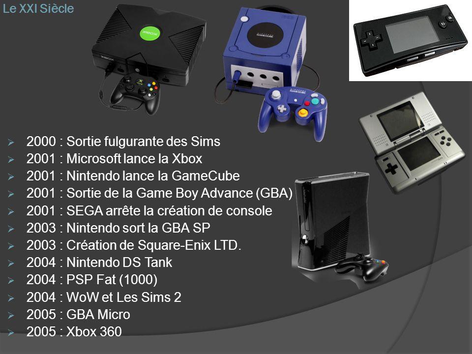 Le XXI Siècle 2000 : Sortie fulgurante des Sims. 2001 : Microsoft lance la Xbox. 2001 : Nintendo lance la GameCube.