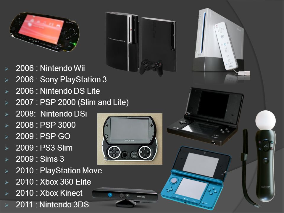 2006 : Nintendo Wii 2006 : Sony PlayStation 3. 2006 : Nintendo DS Lite. 2007 : PSP 2000 (Slim and Lite)