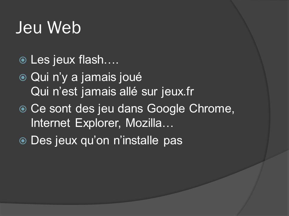 Jeu Web Les jeux flash…. Qui n'y a jamais joué Qui n'est jamais allé sur jeux.fr. Ce sont des jeu dans Google Chrome, Internet Explorer, Mozilla…