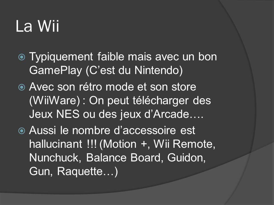 La Wii Typiquement faible mais avec un bon GamePlay (C'est du Nintendo)