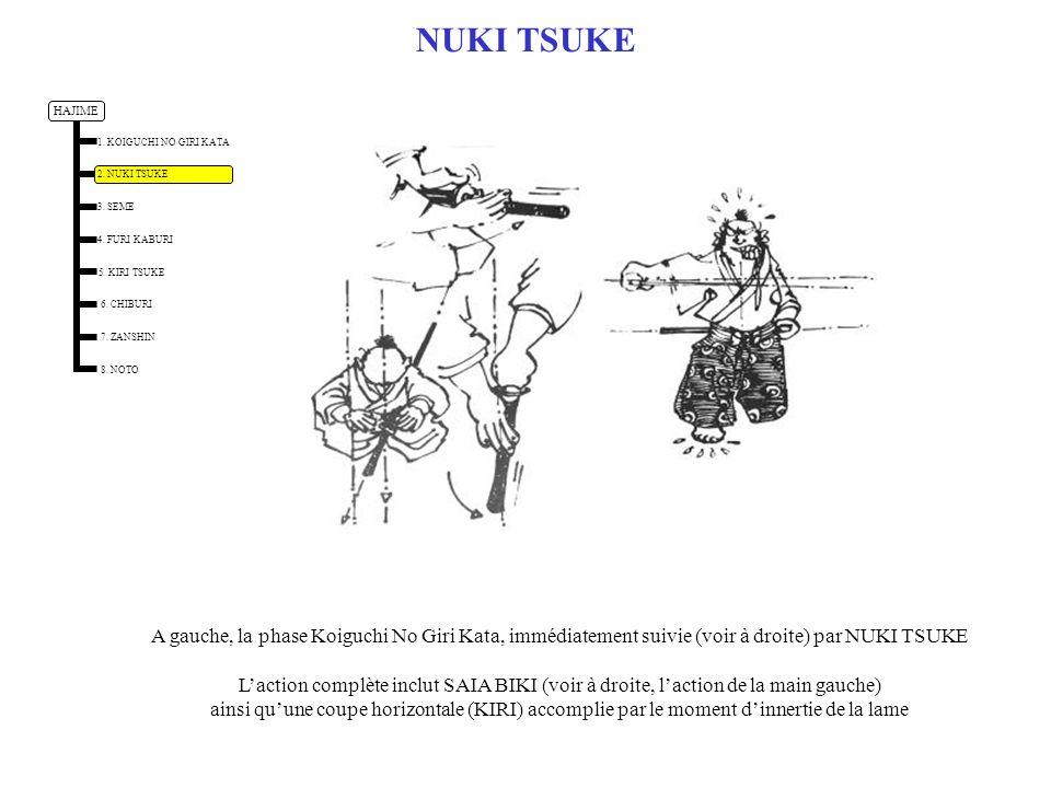 NUKI TSUKE A gauche, la phase Koiguchi No Giri Kata, immédiatement suivie (voir à droite) par NUKI TSUKE.