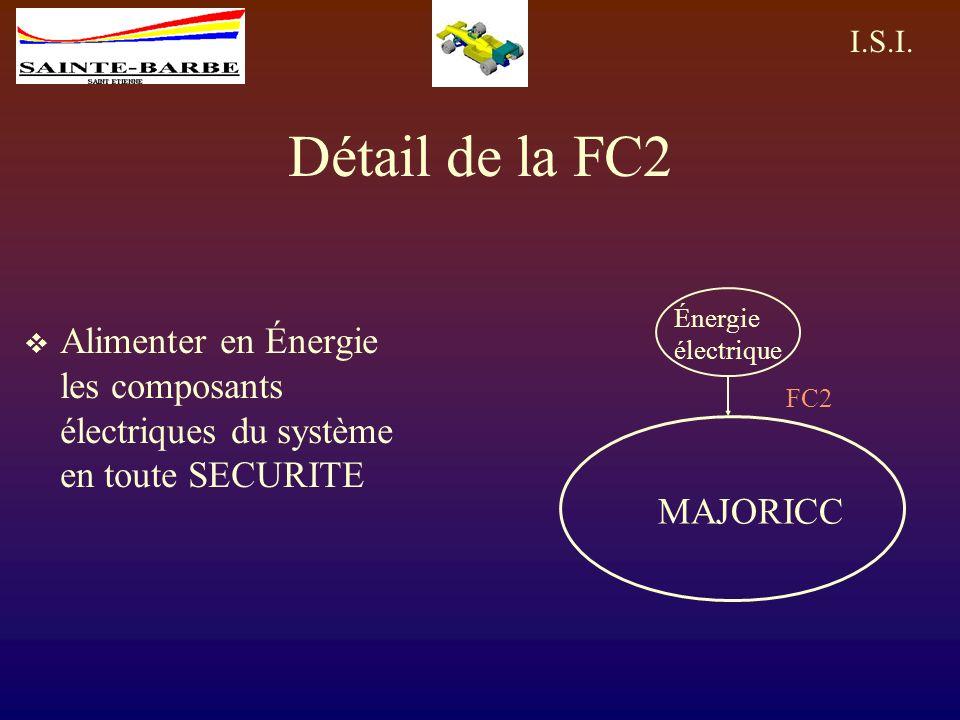 Détail de la FC2 Énergie électrique. Alimenter en Énergie les composants électriques du système en toute SECURITE.