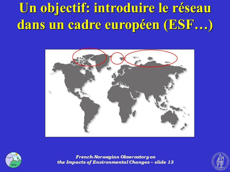 Un objectif: introduire le réseau dans un cadre européen (ESF…)
