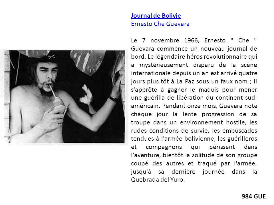 Journal de Bolivie Ernesto Che Guevara.