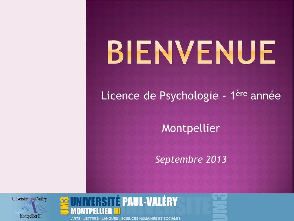 Licence de Psychologie - 1ère année Montpellier Septembre 2013